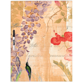 Japan Wisteria Rose Flower Floral Hummingbirds Dry Erase Whiteboards