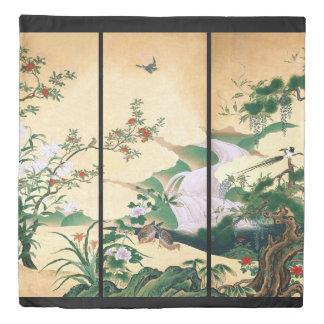 Japan Wisteria Rose Flowers Dove Water Duvet Cover