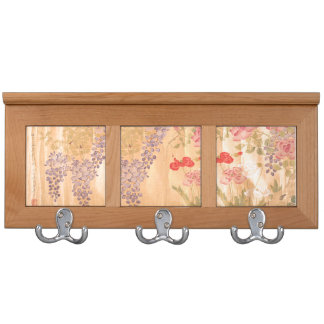 Japan Wisteria Rose Flowers Floral Coat Rack