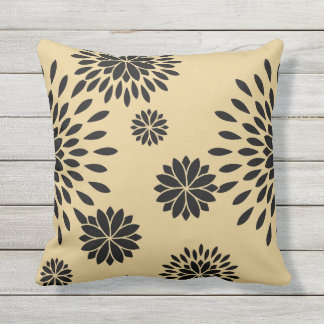Japan. Yellow Floral Flowers. Outdoor Pillow