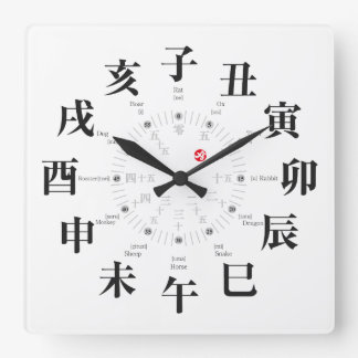 Japan zodiac signs style [white face] clock