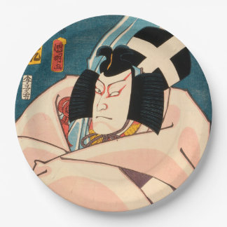 Japanese actor (#10) (Vintage Japanese print) Paper Plate