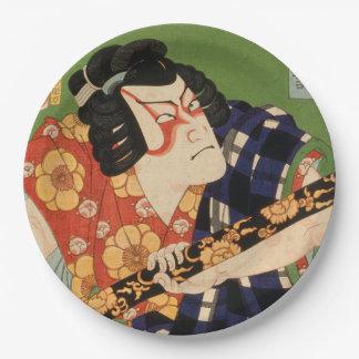 Japanese actor (#1) (Vintage Japanese print) Paper Plate