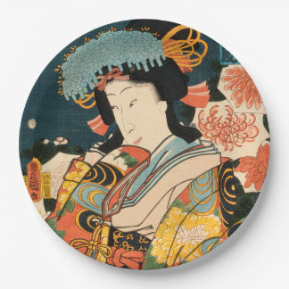 Japanese actor (#2) (Vintage Japanese print) Paper Plate