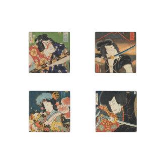 Japanese actors (Vintage Japanese print) Stone Magnets