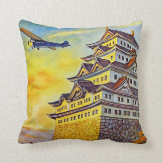 Japanese Air Transport with Pagoda Throw Pillow