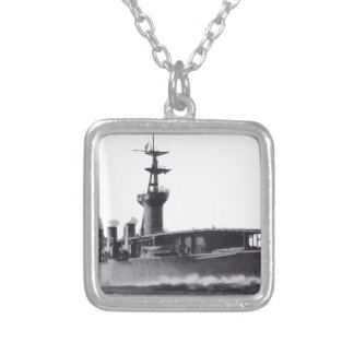 Japanese_aircraft_carrier_Hosho_1922 Silver Plated Necklace