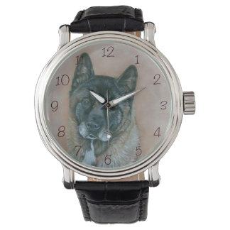 Japanese akita with black face dog portrait art watch