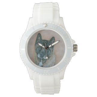 Japanese akita with black face dog portrait art wrist watches