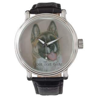 Japanese/American akita pinto and white portrait Wrist Watches