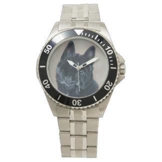 Japanese/American black akita dog portrait art Wrist Watch
