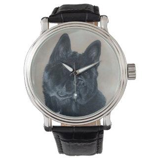 Japanese/American black akita dog portrait art Wrist Watches