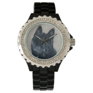 Japanese/American black akita dog portrait art Wristwatches