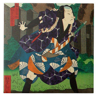 Japanese Art - A Samurai Wearing Patterned Kimono Tile