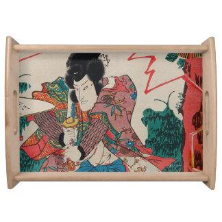 Japanese Art - A Samurai With Swor In Kabuki Show Serving Tray