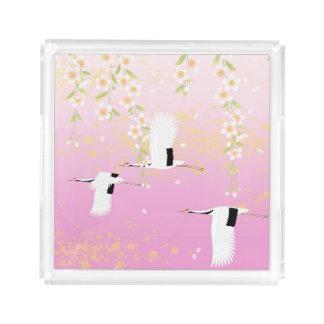 Japanese Art Cranes & Flowers Pink Black White Serving Tray