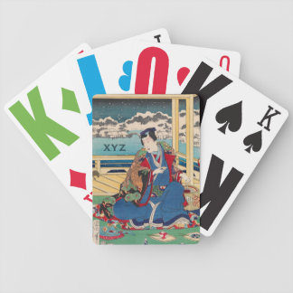 Japanese Art custom monogram playing cards