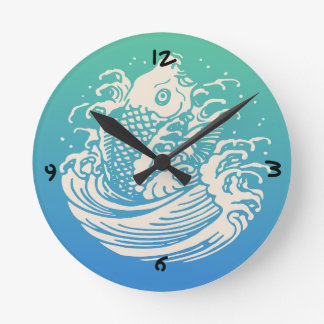 Japanese Art Koi Fish Blue Vintage Design Round Clock