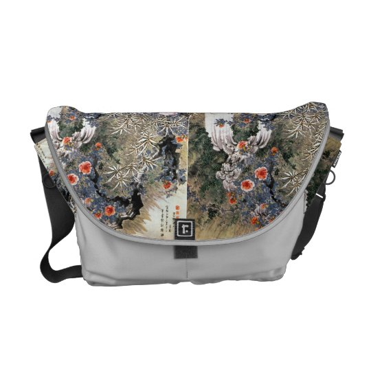 Japanese art messenger bag.. commuter bag