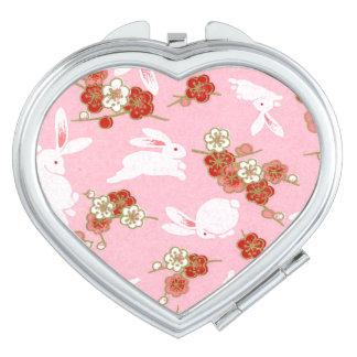 Japanese Art: Pink Sakura & Rabbits Compact Mirror