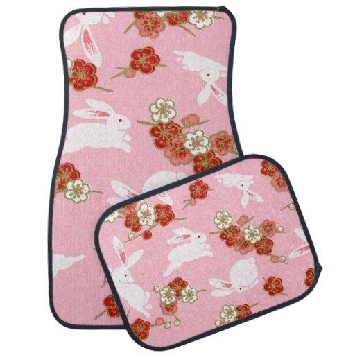 Japanese Art: Pink Sakuras & Rabbits Car Mat Set Car Mat