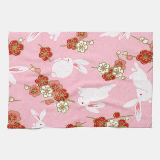 Japanese Art: Pink Sakuras & Rabbits Kitchen Towel