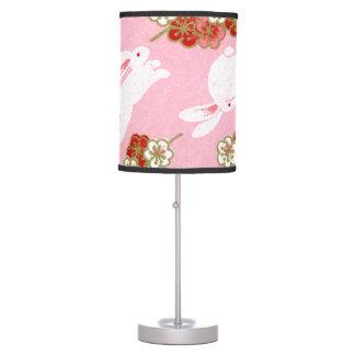 Japanese Art: Pink Sakuras & Rabbits Table Lamp