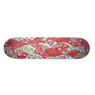 Japanese Art Red Floral Origami Yuzen Skateboard
