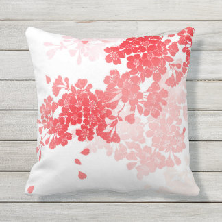 Japanese Art Red & Pink Flowers floral Throw Pillow