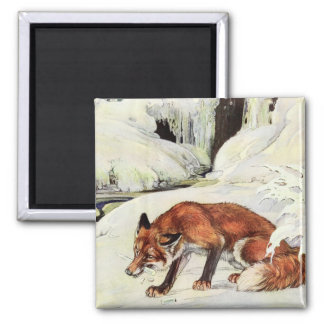 Japanese art style fox illustration fridge magnet