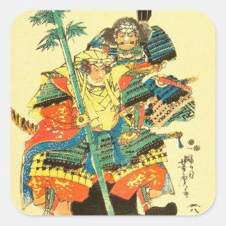 Japanese Art - Two Samurais In Full Battle Armor Square Sticker