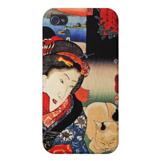 Japanese Artwork - Woman Reading Paper with Cat iPhone 4/4S Cases
