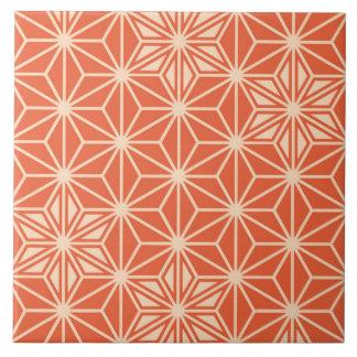 Japanese Asanoha pattern - coral orange Tile