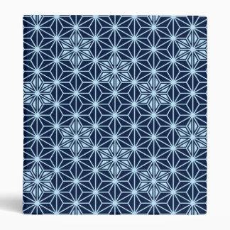 Japanese Asanoha pattern - indigo blue 3 Ring Binders
