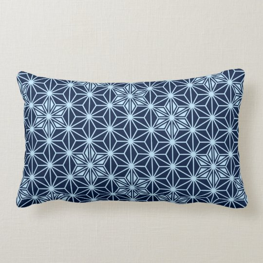 Japanese Asanoha pattern - indigo blue Lumbar Pillow