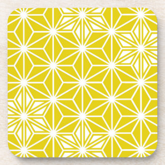 Japanese Asanoha pattern - mustard gold and white Coaster