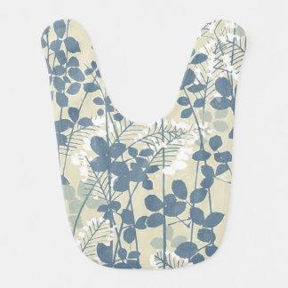 Japanese Asian Art Floral Blue Flowers Print Bib