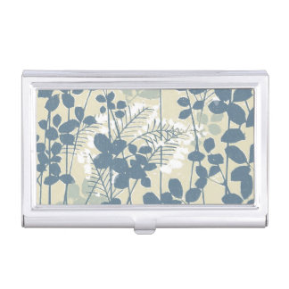 Japanese Asian Art Floral Blue Flowers Print Business Card Holder