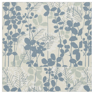 Japanese Asian Art Floral Blue Flowers Print Fabric
