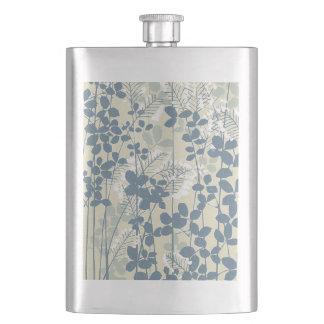 Japanese Asian Art Floral Blue Flowers Print Hip Flask