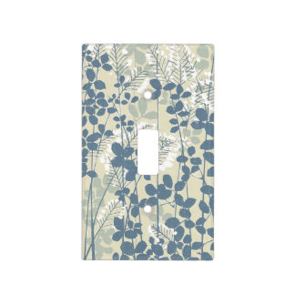 Japanese Asian Art Floral Blue Flowers Print Light Switch Cover