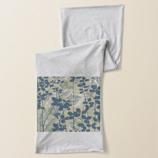 Japanese Asian Art Floral Blue Flowers Print Scarf