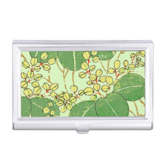 Japanese Asian Leaves Art Print Floral Design Business Card Holders