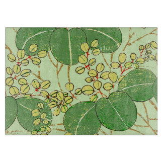 Japanese Asian Leaves Art Print Floral Design Cutting Board