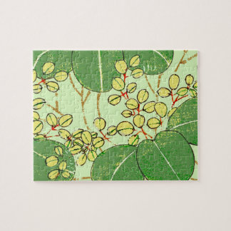 Japanese Asian Leaves Art Print Floral Design Jigsaw Puzzle