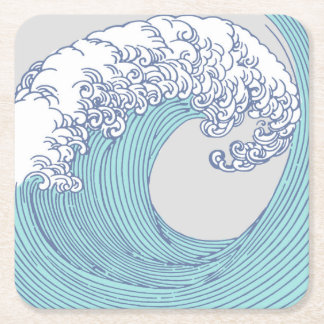 Japanese Asian Surf Wave Art Print Ocean Beach Square Paper Coaster