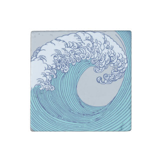 Japanese Asian Surf Wave Art Print Ocean Beach Stone Magnets