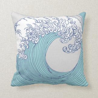 Japanese Asian Surf Wave Art Print Ocean Beach Throw Pillow