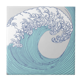 Japanese Asian Surf Wave Art Print Ocean Beach Tile