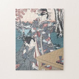 Japanese Autumn Ukiyo-e Momijigari no himegimi Jigsaw Puzzle